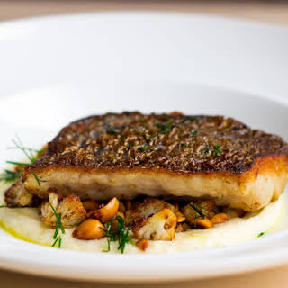 Pan-fried Fish with Cauliflower and Hazelnuts.