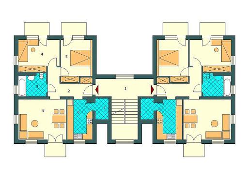 Budynek wielorodzinny-MDM6 - RZUT 1 i 2 PIĘTRA