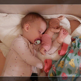 Two big friends. by Marcel Cintalan - Babies & Children Babies ( nose, toys, hands, children, babies, sleeping, friends )