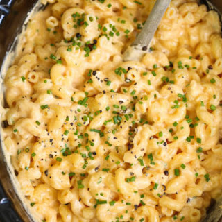 Slow Cooker Four Cheese Mac and Cheese.