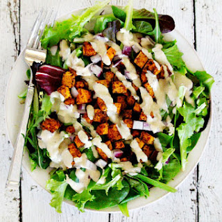 Vegan Roasted Chipotle Sweet Potato Salad with Tahini Lime Dressing Recipe