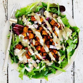 Vegan Roasted Chipotle Sweet Potato Salad With Tahini Lime Dressing.