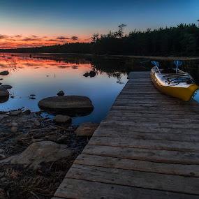 Sunset at the Lake by Heather Campbell - Landscapes Sunsets & Sunrises ( nature, sunset, kejimkujik, lakekayak, trees, summer, lake, long exposure, landscape,  )