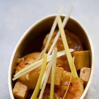 Shrimp and Tofu Stir-Fry with Leeks.