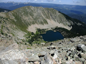 Photo: Looking down on Lake Katherine from Santa Fe Baldy. The Truchas Peaks are in the distance to the left