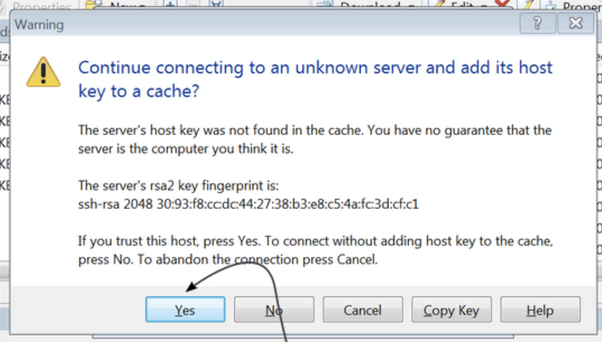 Click yes to add host key to cache for SFTP connection.