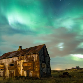 Northern Lights by Sigurður Brynjarsson - Landscapes Starscapes ( aurora borealis iceland house sky cloud green rust metal grass field country northern lights )