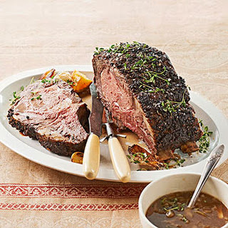Holiday Rib Roast with Grain Mustard Sauce