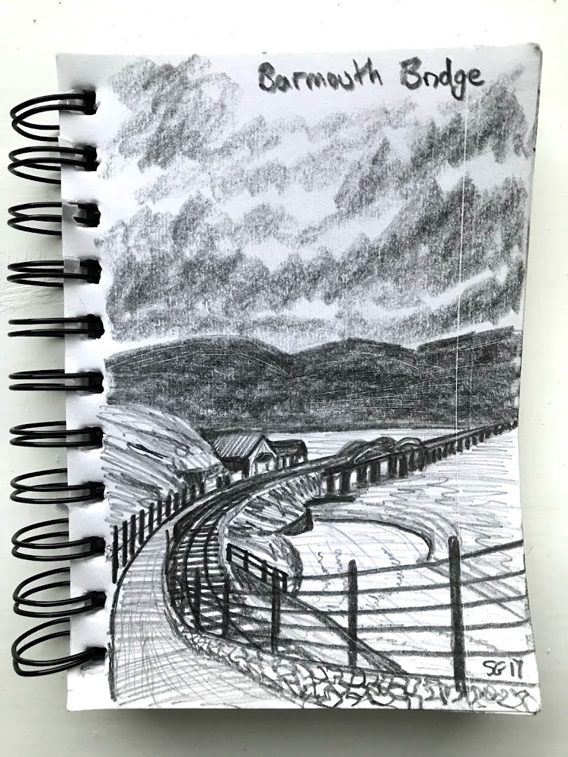 Barmouth bridge ink drawing limited edition.