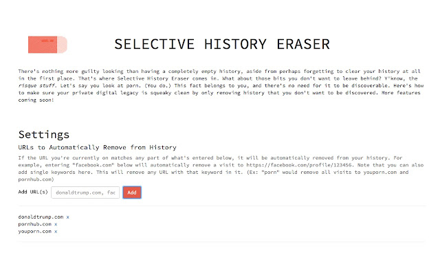 Selective History Eraser