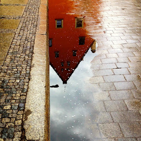Jatki by Adrian Konopnicki - City,  Street & Park  Street Scenes ( mirror, old, building, reflection, colourful, shinny, street, puddle, wet, jatki, city )