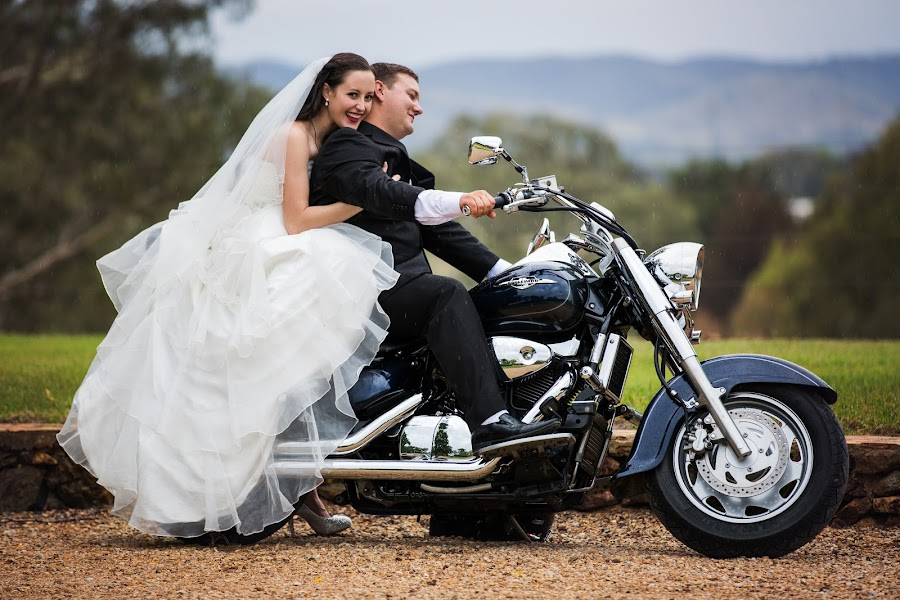 Let's Ride by Peter Hutchison - Wedding Bride & Groom ( outdoor wedding, bike, biker, wedding, bride and groom )