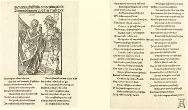 Photo: Albrecht Dürer (German, 1471 - 1528 ), Death and the Lansquenet, 1510, woodcut, Rosenwald Collection