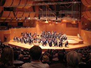 Photo: The Munich Philharmonic setting up for the Mahler concert we attended.  Christian Thielemann conducted.  He has rock star status in Germany.  European audiences are younger than here - a good sign.