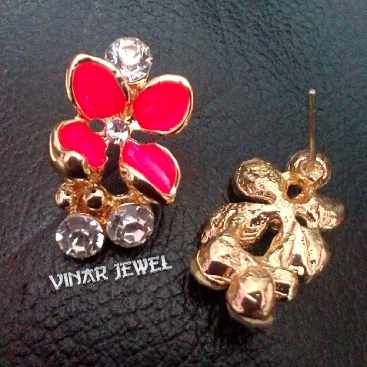 18K Gold Plated (Four Petal Red Rose, White Rose Butterfly & Red Rose Stud Earrings) by Vinar Jewel