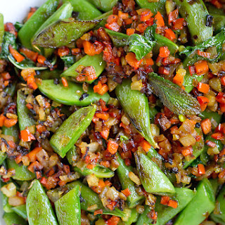 Sugar Snap Peas with Soffrito, Hot Pepper and Mint.