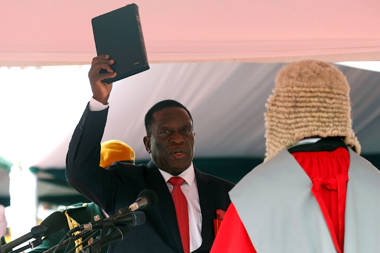 Emmerson Mnangagwa is sworn in as Zimbabwe's president in Harare, Zimbabwe, November 24, 2017. Picture: REUTERS/MIKE HUTCHINGS