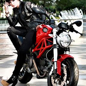 Ducati girl by Wee D'Santos - People Portraits of Women ( motorbike, racing, sport, beauty, beautiful girl )