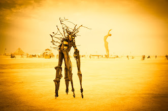 Photo: The alienthing creeps across the burning desert  It uber-creepy and always deep in character. Its four-legged gait across the playa looked so inhuman. At one point, it was offered some water and the scene was beyond belief. It leaned over with its elongated mouth-hose to suck up the water, its head reeling back, and a mechanical-breathing sound could be heard like chainmail being ripped apart.  #BurningMan