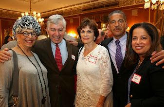 Photo: Frita Garcia, Former Governor Mike Dukakis, Kitty Dukakis, Pablo Calderon (MassDOT), and Sandra Alvarado (MassDOT).