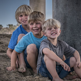 Boys will be Boys  by Dory Formiller - Babies & Children Child Portraits ( sand, boys, three, beach, smiles,  )