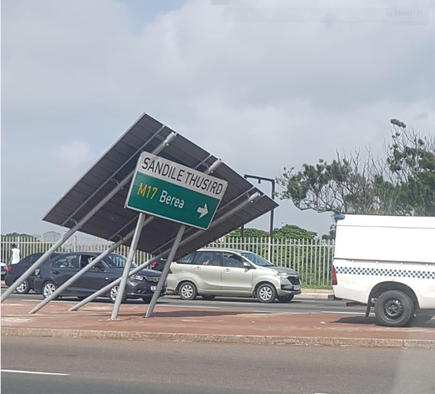 Strong winds topple road signage in the Durban city centre.