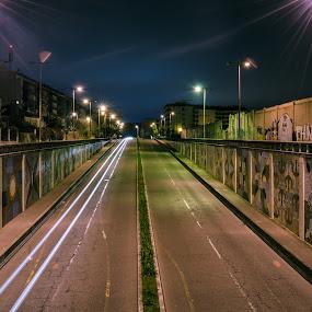Túnel de luz by Carlos Costa - Uncategorized All Uncategorized ( light trail, street, night, portugal, light, tunnel, , city at night, street at night, park at night, nightlife, night life, nighttime in the city )