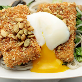 Pumpkin-Seed-Crusted Tofu with Lemongrass Broth, Rice Noodles, and Poached Eggs