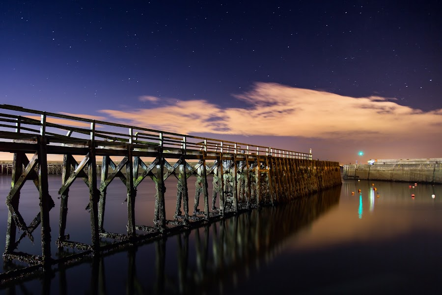 Midnight Pier by Lee Niven - Buildings & Architecture Bridges & Suspended Structures ( water, canon, photographs, waterscape, lee niven photo, pictures, seascape, photography, nightscape, wooden, www.leenivenphotography.co.uk, leeniven, leenivenphotography, stars, facebook, niven, pier, images, starscape, canon 5d mkiii, decay,  )