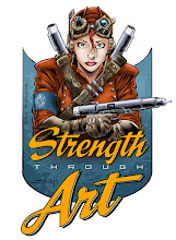 Photo: Second in my new series of Strength Through Art designs. Buy stickers of this design here: http://www.stickermule.com/marketplace/2244-strength-through-art-steampunk-pen-and-ink