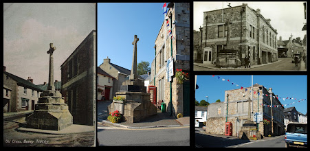 Photo: Bovey Tracey - Top end of Fore street  Main card by Chapman c1910; card at top right by KE Ruth (? c.1950)   The memorial cross has been 'updated' for the dead of later wars by the time of the Ruth card. It's not clear what its original purpose was, as I can make out no inscriptions etc on the Chapman image.   Interesting that the first-floor window behind the cross in the 'Ruth' image has now been filled-in: window tax must have been abolished at a late date in Bovey!  Modern sign posts are far more intrusive than the old 'finger-post' versions, but, no doubt, are more effective.