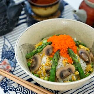 Asparagus Scrambled Eggs Chirashi Sushi