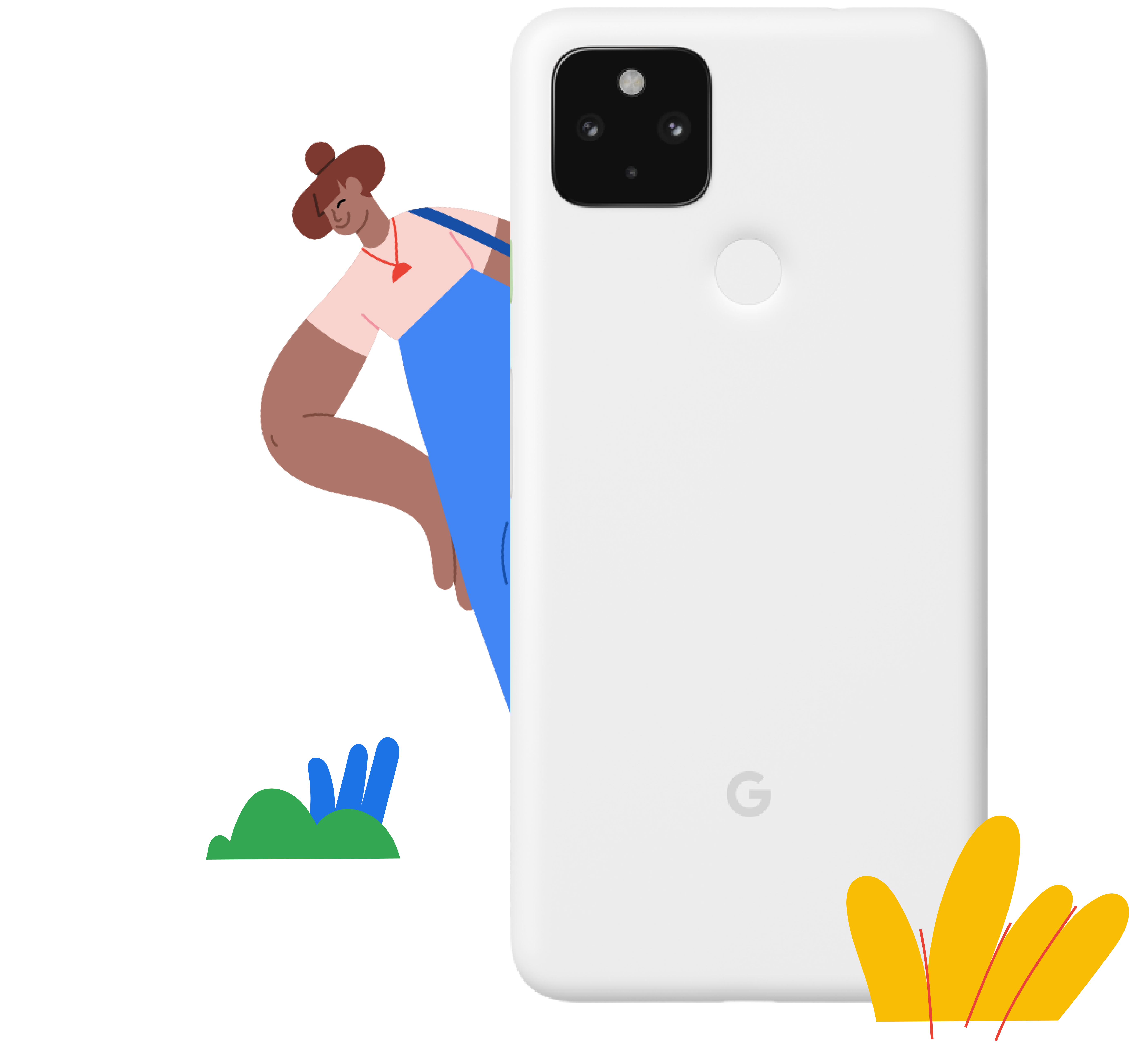 Person behind phone