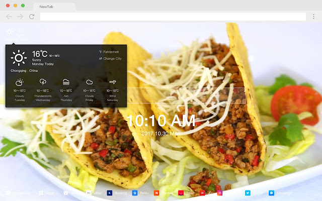 Mexican food HD food New tab page Theme