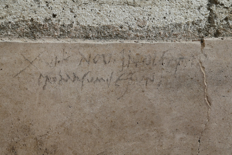 A writing on a wall from which it is assumed that the date of October 24 79 AD, recently discovered in the Regio V new escavations area the archaeological site of Pompeii.