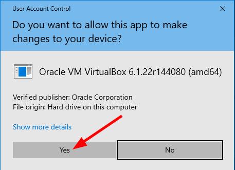 VirtualBox installation - User Account Control. Source: nudesystems.com