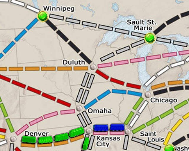 Map of part of the Ticket to Ride board. Because this blog is awesome.