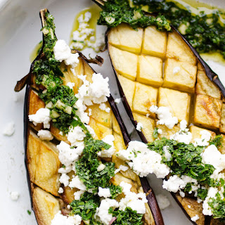 Roasted Eggplant with Mint Sauce and Feta Recipe