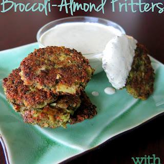 Broccoli-Almond Fritters with Creamy Lemon Tarragon Sauce (Paleo, Vegan, & Gluten-Free)