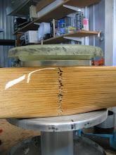 """Photo: Stack-up of propeller extension, spinner backing plate, propeller, crush plate, spinner """"front"""" bulkhead."""