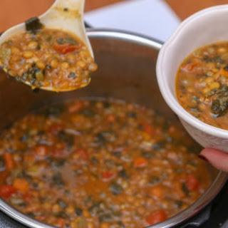 Instant Pot Lentil Spinach Hearty Soup.