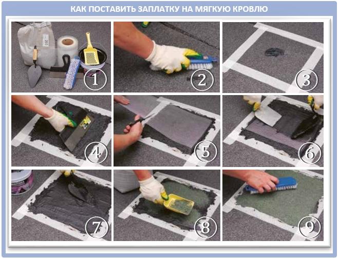 Как поставить латки на рулонную крышу