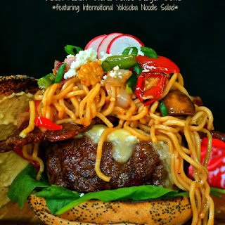 "Asian Fusion ""World Peace Burger Bowls"" Featuring International Yakisoba Noodle Salad."