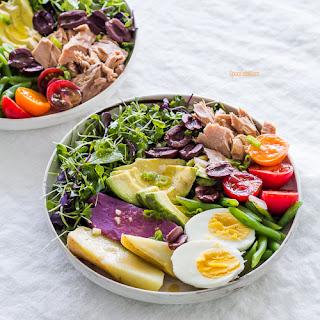 Classic Nicoise Salad with Apple Brandy Mustard Vinaigrette.