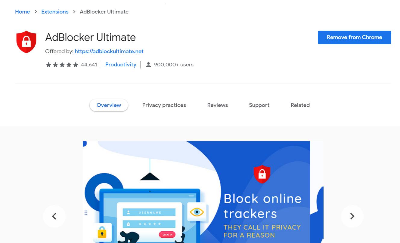 Adblocker Ultimate in Chrome Store - Best Free Ad Blocker Software