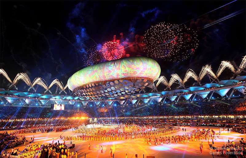 Photo: DELHI, INDIA - OCTOBER 03: The fireworks finale is seen during the Opening Ceremony for the Delhi 2010 Commonwealth Games at Jawaharlal Nehru Stadium on October 3, 2010 in Delhi, India.  (Photo by Graham Crouch/Getty Images)