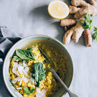 Healing Red Lentil Curry with Turmeric and Spinach.