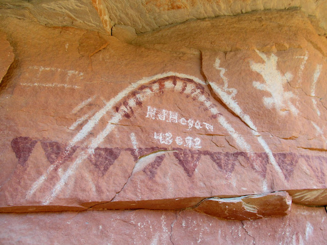 Pictographs and 1892 inscription