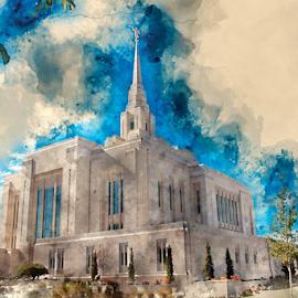 Ogden UT LDS Temple by Valerie Aebischer - Digital Art Places ( mormon temples, ogden ut lds temple, temples, mormon temple, lds temple, lds, mormon, lds temples )