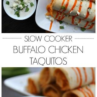 Slow Cooker Buffalo Chicken Taquitos.